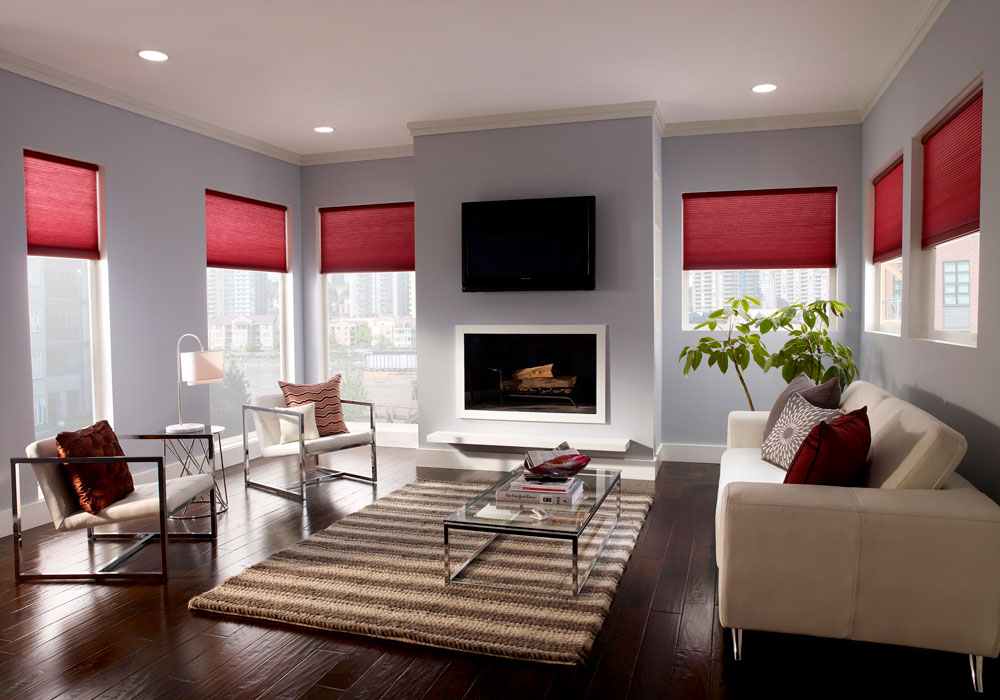 Automated shades in a media room